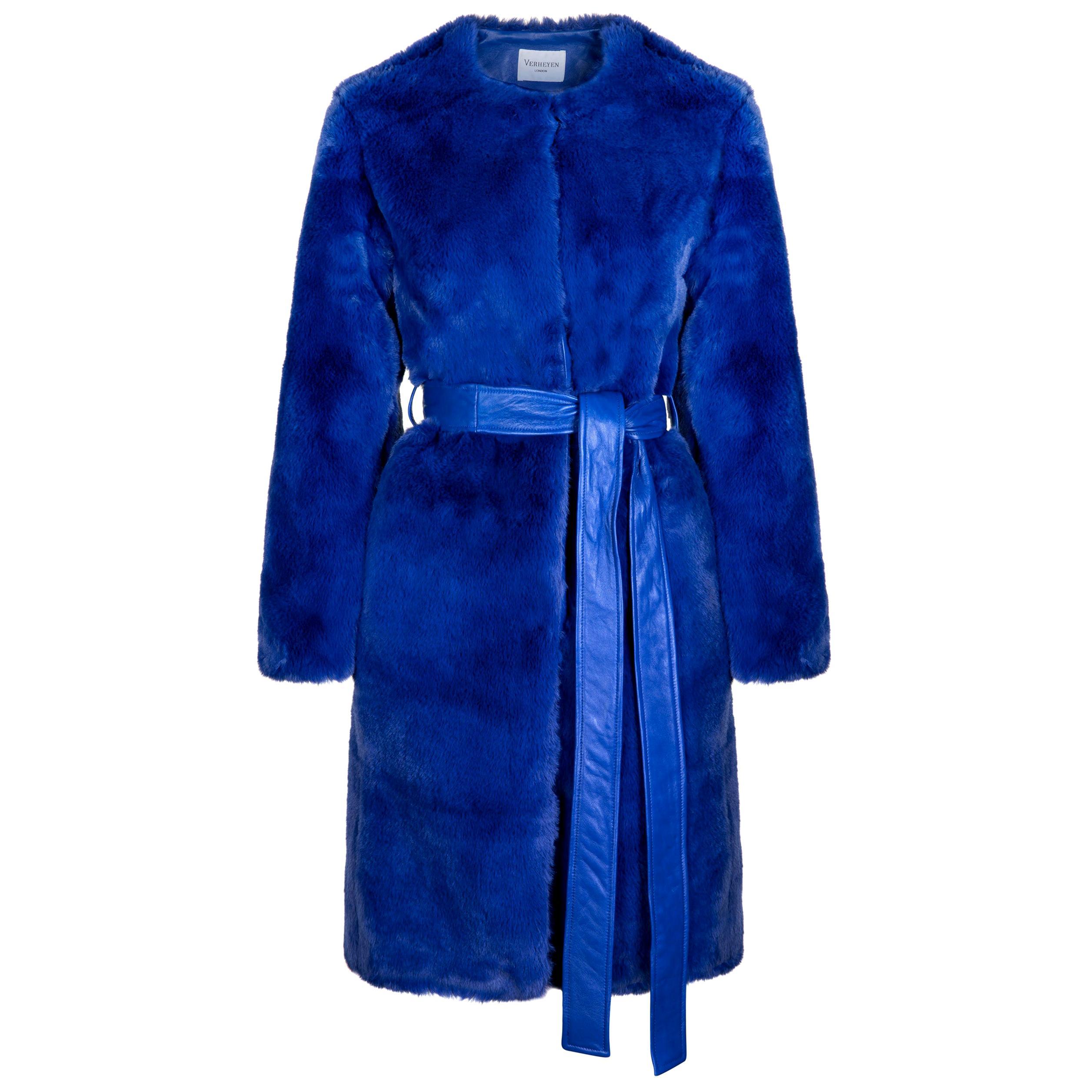 Verheyen London Serena  Collarless Faux Fur Coat in Blue - Size uk 10