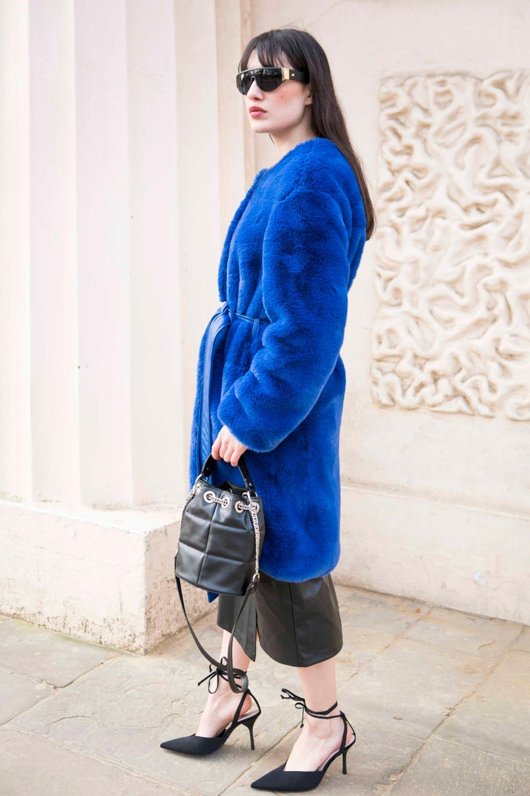 Verheyen London Serena  Collarless Faux Fur Coat in Blue - Size uk 12  In New Condition For Sale In London, GB
