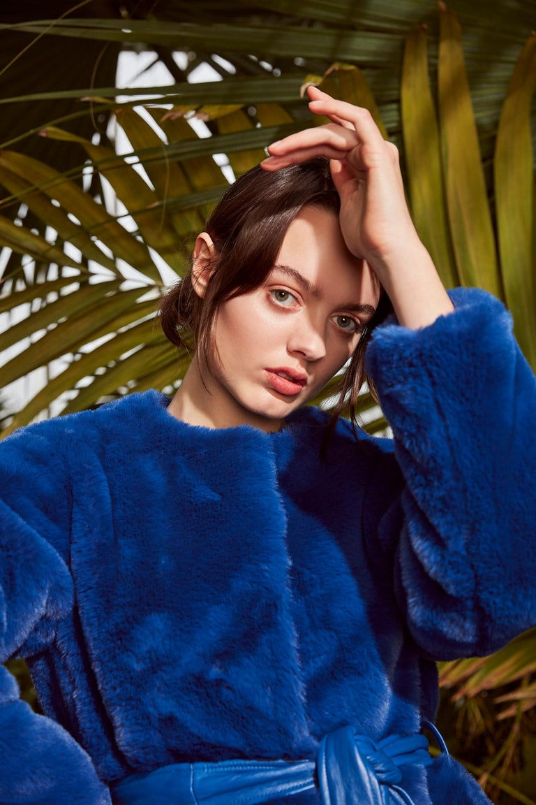 Women's Verheyen London Serena  Collarless Faux Fur Coat in Blue - Size uk 12  For Sale