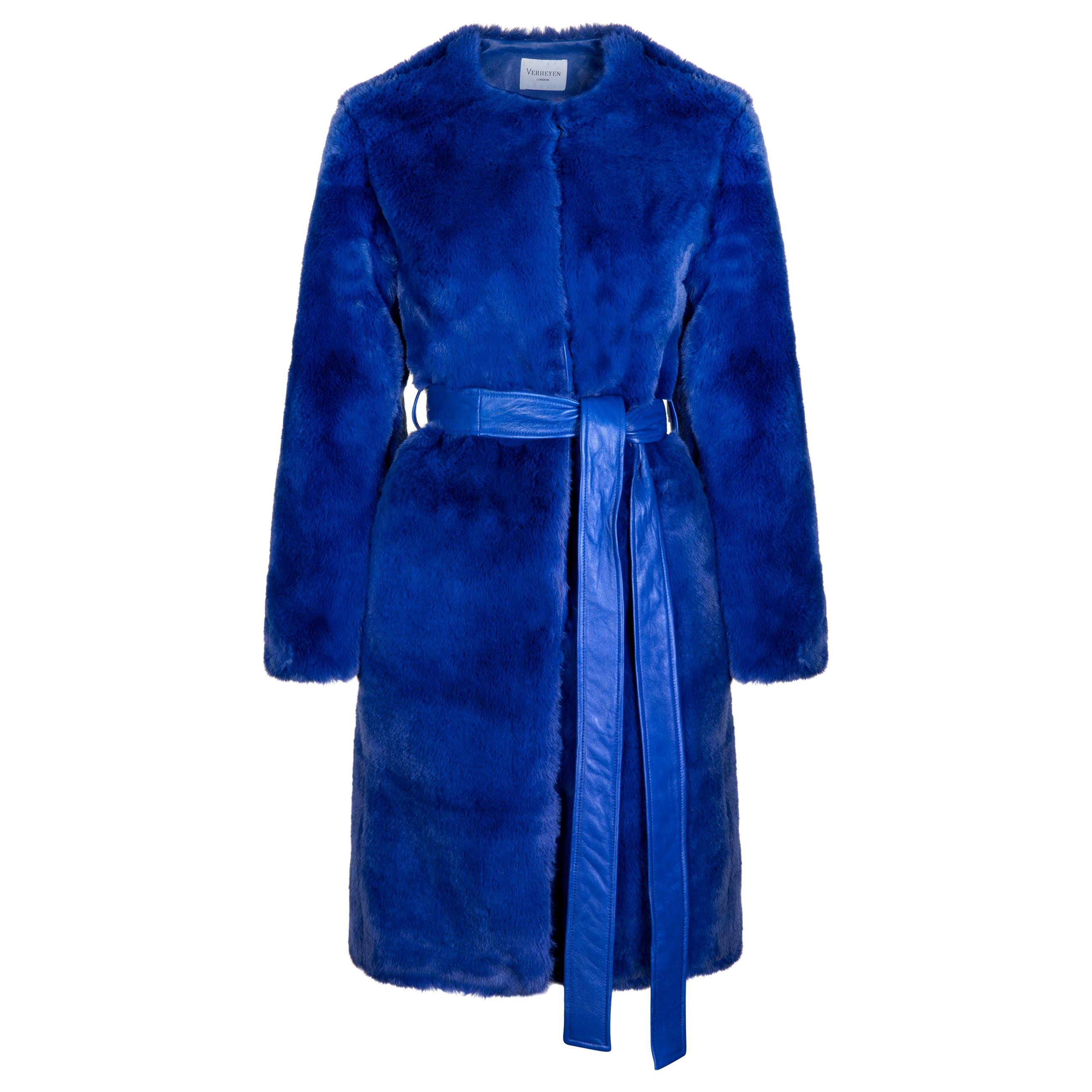 Verheyen London Serena  Collarless Faux Fur Coat in Blue - Size uk 12