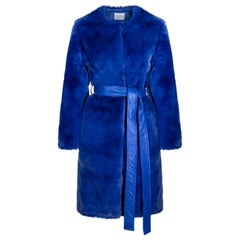 Verheyen London Serena  Collarless Faux Fur Coat in Blue - Size uk 12