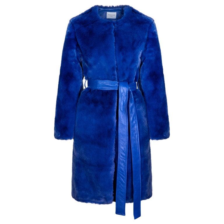 Verheyen London Serena  Collarless Faux Fur Coat in Blue - Size uk 12  For Sale