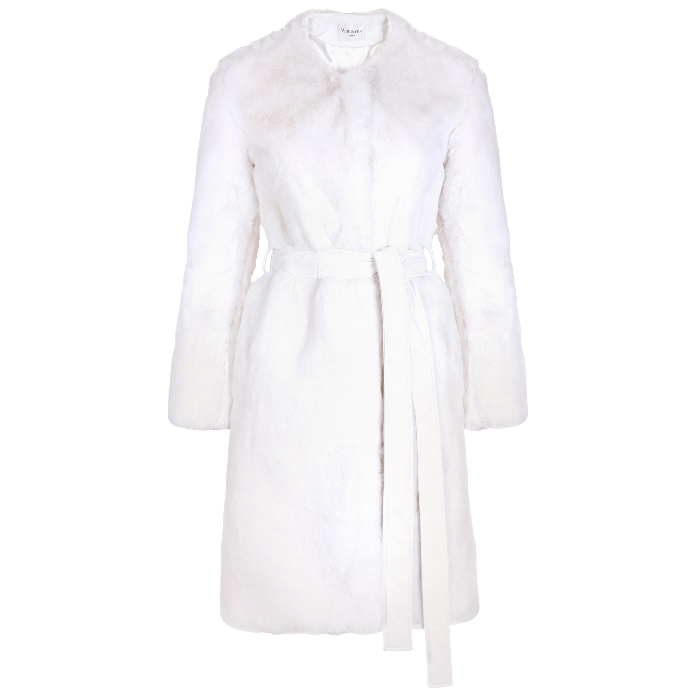 Verheyen London Serena  Collarless Faux Fur Coat in White - Size uk 12