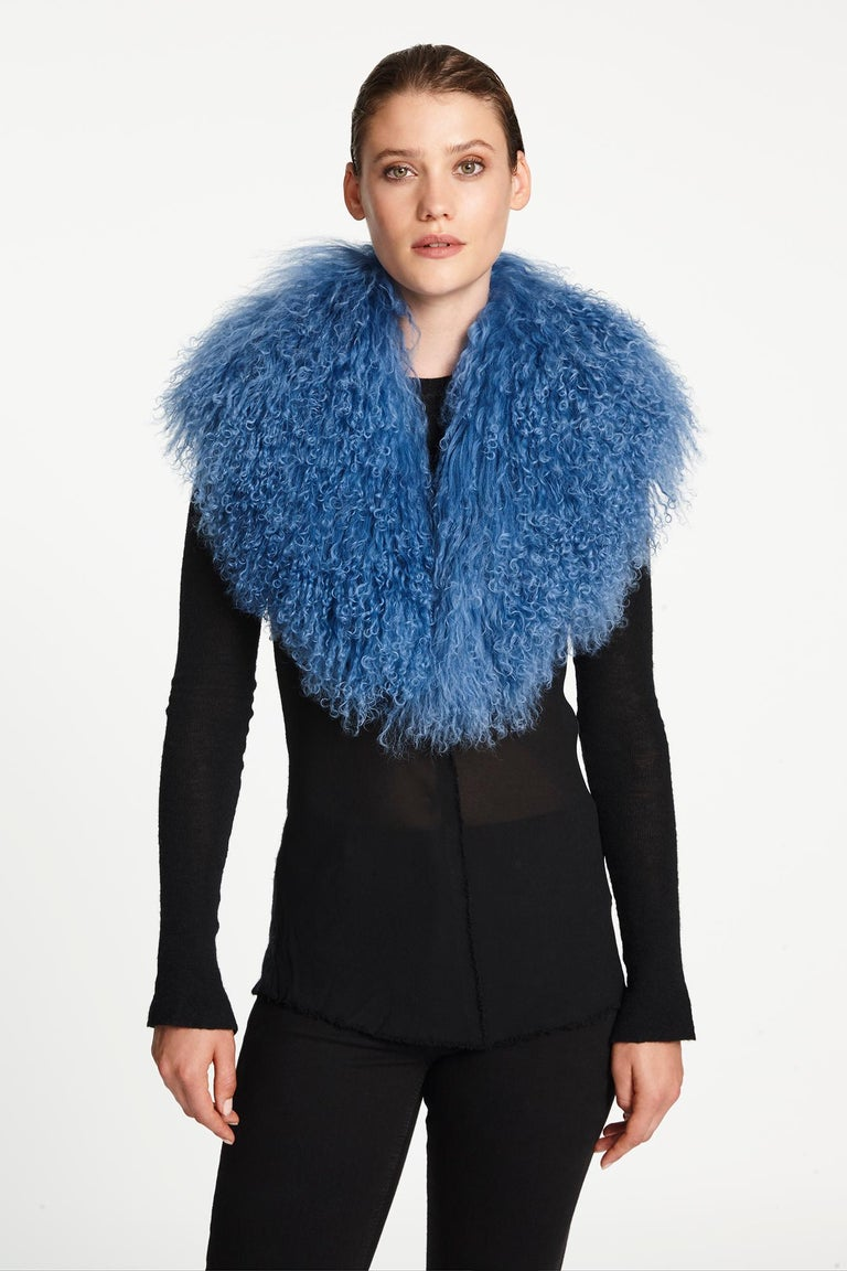 Women's or Men's Verheyen London Shawl Collar in Blue Topaz Mongolian Lamb Fur lined in silk   For Sale