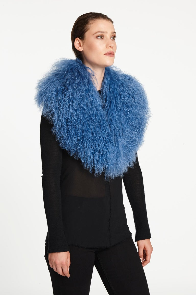 Verheyen London Shawl Collar in Blue Topaz Mongolian Lamb Fur lined in silk   For Sale 1