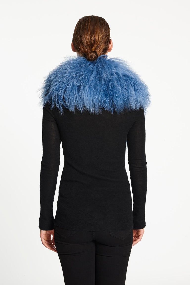 Verheyen London Shawl Collar in Blue Topaz Mongolian Lamb Fur lined in silk   For Sale 3