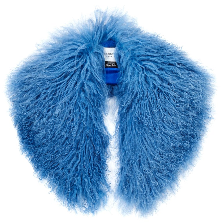 Verheyen London Shawl Collar in Blue Topaz Mongolian Lamb Fur lined in silk   For Sale