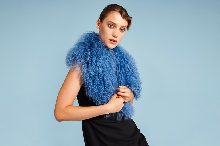 Verheyen London Shawl Collar in Blue Topaz Mongolian Lamb Fur lined in silk new  The Shawl Collar is Verheyen London's casual everyday design, which is perfectly shaped to wear over any outfit.  Designed for layering, this structured shape, crafted