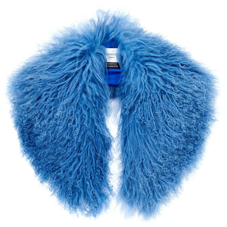 Verheyen London Shawl Collar in Blue Topaz Mongolian Lamb Fur lined in silk new For Sale