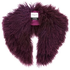 Verheyen London Shawl Collar in Garnet Mongolian Lamb Fur - Gift