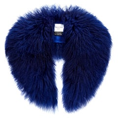 Verheyen London Shawl Collar in Sapphire Blue Mongolian Lamb