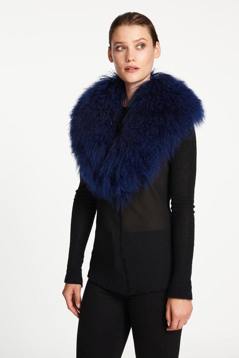 Black Verheyen London Shawl Collar in Sapphire Mongolian Lamb - Brand New  For Sale