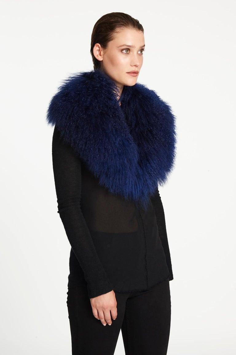 Verheyen London Shawl Collar in Sapphire Mongolian Lamb - Brand New  In New Condition For Sale In London, GB