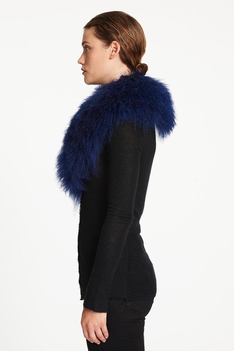 Women's or Men's Verheyen London Shawl Collar in Sapphire Mongolian Lamb - Brand New  For Sale