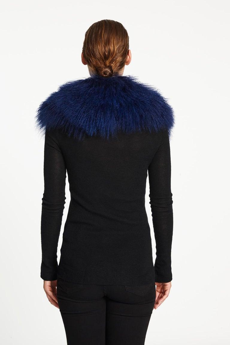 Verheyen London Shawl Collar in Sapphire Mongolian Lamb - Brand New  For Sale 1