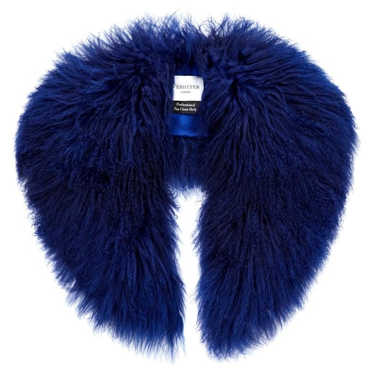 Verheyen London Shawl Collar in Sapphire Mongolian Lamb - Brand New  For Sale