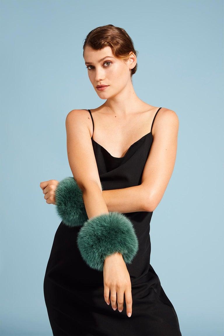 Black Verheyen London Snap on Jade Green Fox Fur Cuffs  - Brand New