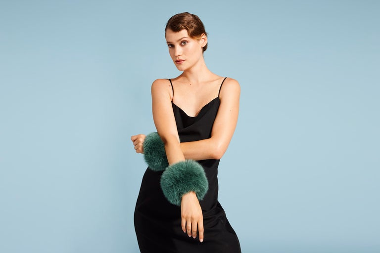 Women's or Men's Verheyen London Snap on Jade Green Fox Fur Cuffs  - Brand New