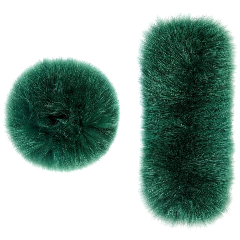Verheyen London Snap on Jade Green Fox Fur Cuffs  - Brand New