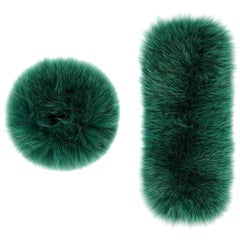 Verheyen London Snap on Jade Green Fox Fur Cuffs  - Brand New
