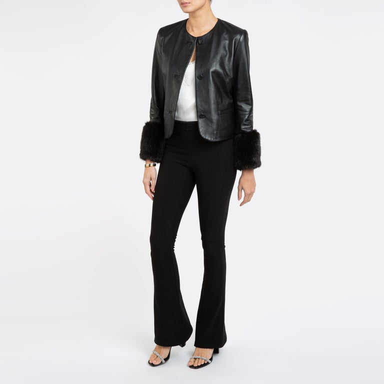 Verheyen Vita Cropped Jacket in Black Leather with Faux Fur - Size uk 10 In New Condition For Sale In London, GB