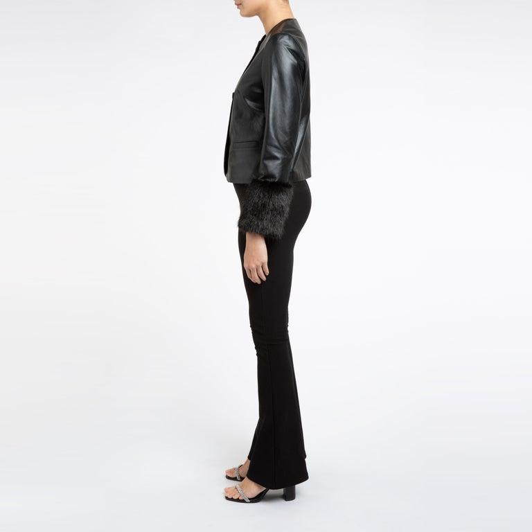 Women's Verheyen Vita Cropped Jacket in Black Leather with Faux Fur - Size uk 10 For Sale