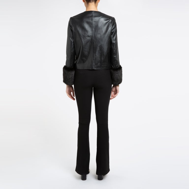 Verheyen Vita Cropped Jacket in Black Leather with Faux Fur - Size uk 10 For Sale 1