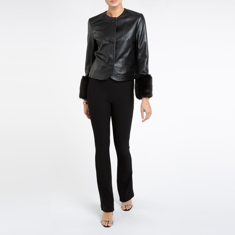 Verheyen Vita Cropped Jacket in Black Leather with Faux Fur - Size uk 10 For Sale 2