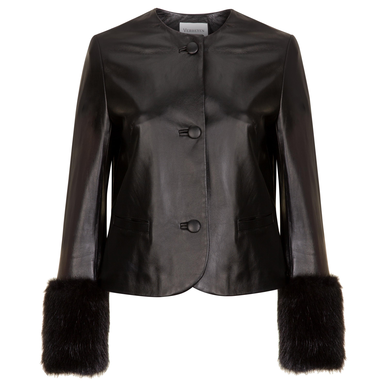 Verheyen Vita Cropped Jacket in Black Leather with Faux Fur - Size uk 10