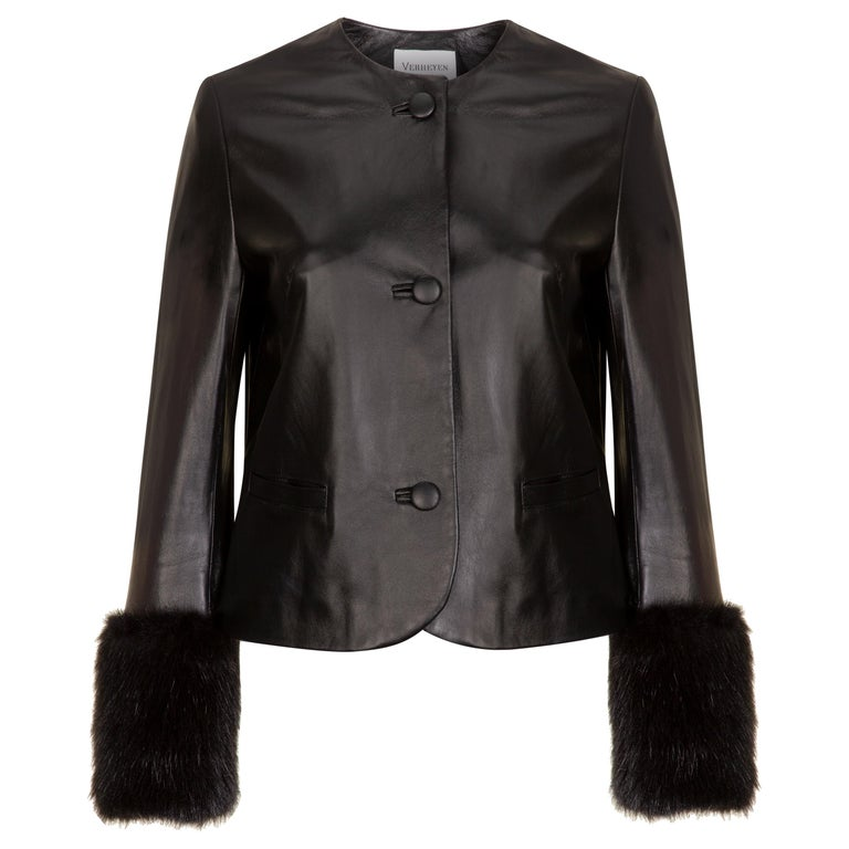 Verheyen Vita Cropped Jacket in Black Leather with Faux Fur - Size uk 10 For Sale
