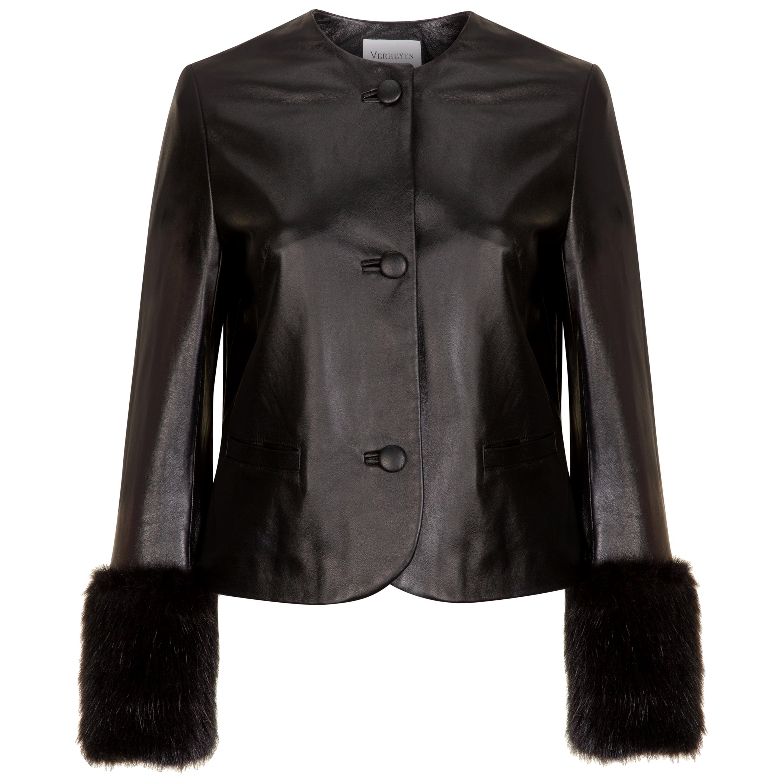 Verheyen Vita Cropped Jacket in Black Leather with Faux Fur - Size uk 12