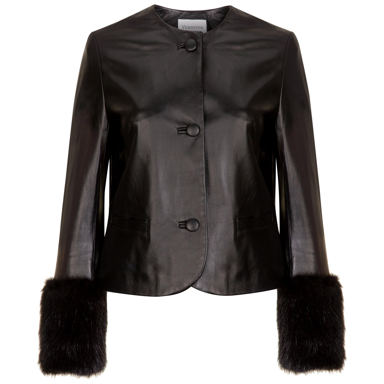 Verheyen Vita Cropped Jacket in Black Leather with Faux Fur - Size uk 14