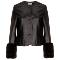 Verheyen Vita Cropped Jacket in Black Leather with Faux Fur - Size uk 14
