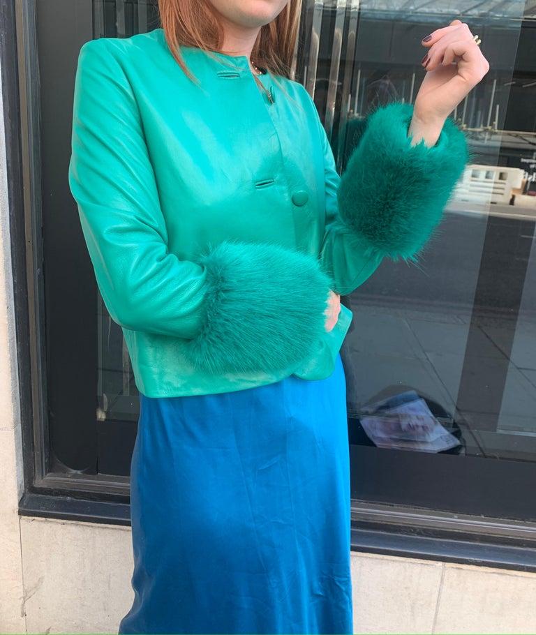 Women's Verheyen Vita Cropped Jacket in Emerald Green Leather with Faux Fur - Size uk 12 For Sale