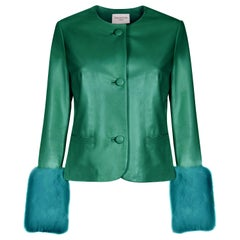 Verheyen Vita Cropped Jacket in Emerald Green Leather with Faux Fur - Size uk 12