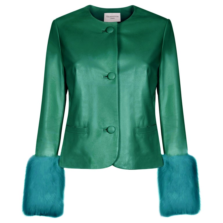 Verheyen Vita Cropped Jacket in Emerald Green Leather with Faux Fur - Size uk 12 For Sale