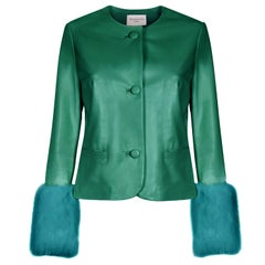 Verheyen Vita Cropped Jacket in Emerald Green Leather with Faux Fur - Size uk 8