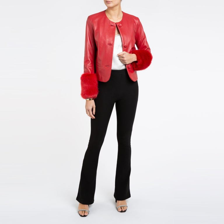 Verheyen Vita Cropped Jacket in Red Leather with Faux Fur - Size uk 10 For Sale 6