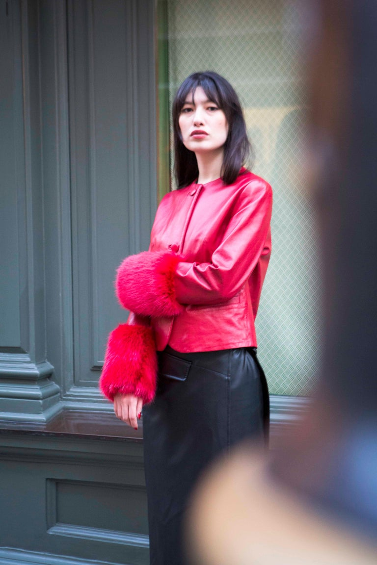 Verheyen Vita Cropped Jacket in Red Leather with Faux Fur - Size uk 10  Handmade in London, made with 100% Italian Lambs Leather and the highest quality of faux fur to match, this luxury item is an investment piece to wear for a lifetime.  This