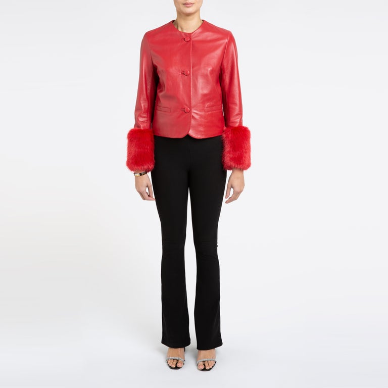 Verheyen Vita Cropped Jacket in Red Leather with Faux Fur - Size uk 10 For Sale 3