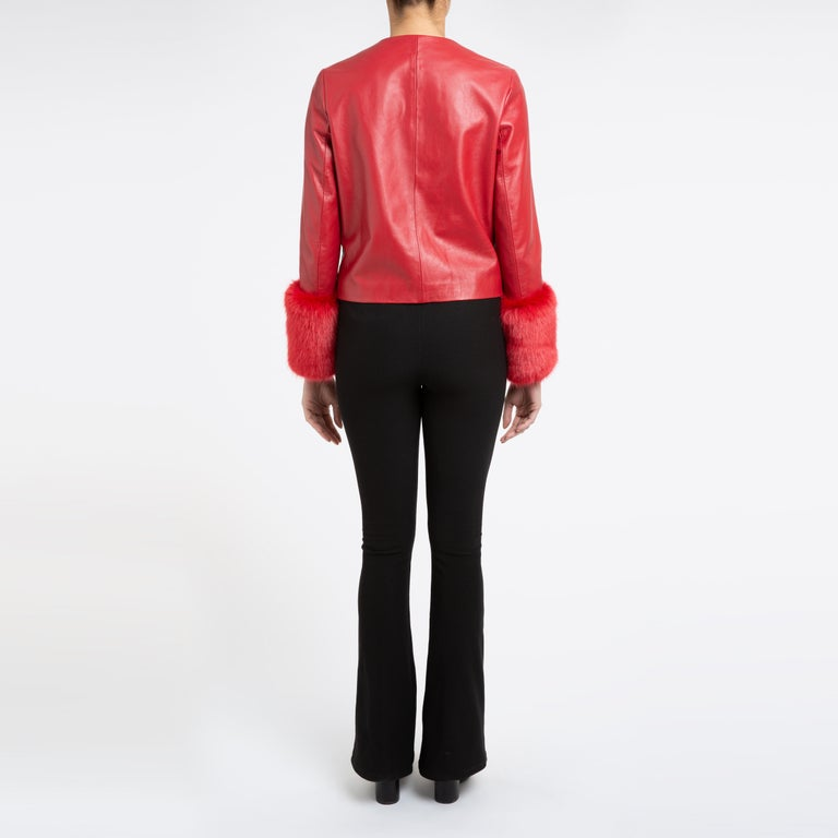 Verheyen Vita Cropped Jacket in Red Leather with Faux Fur - Size uk 10 For Sale 4