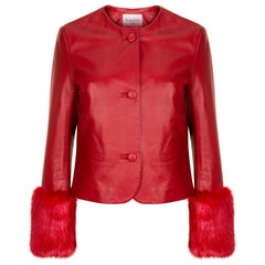 Verheyen Vita Cropped Jacket in Red Leather with Faux Fur - Size uk 10