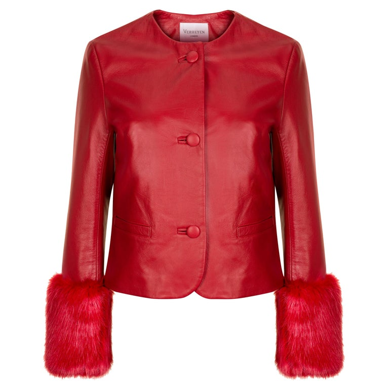 Verheyen Vita Cropped Jacket in Red Leather with Faux Fur - Size uk 10 For Sale