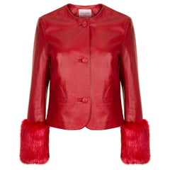 Verheyen Vita Cropped Jacket in Red Leather with Faux Fur - Size uk 14