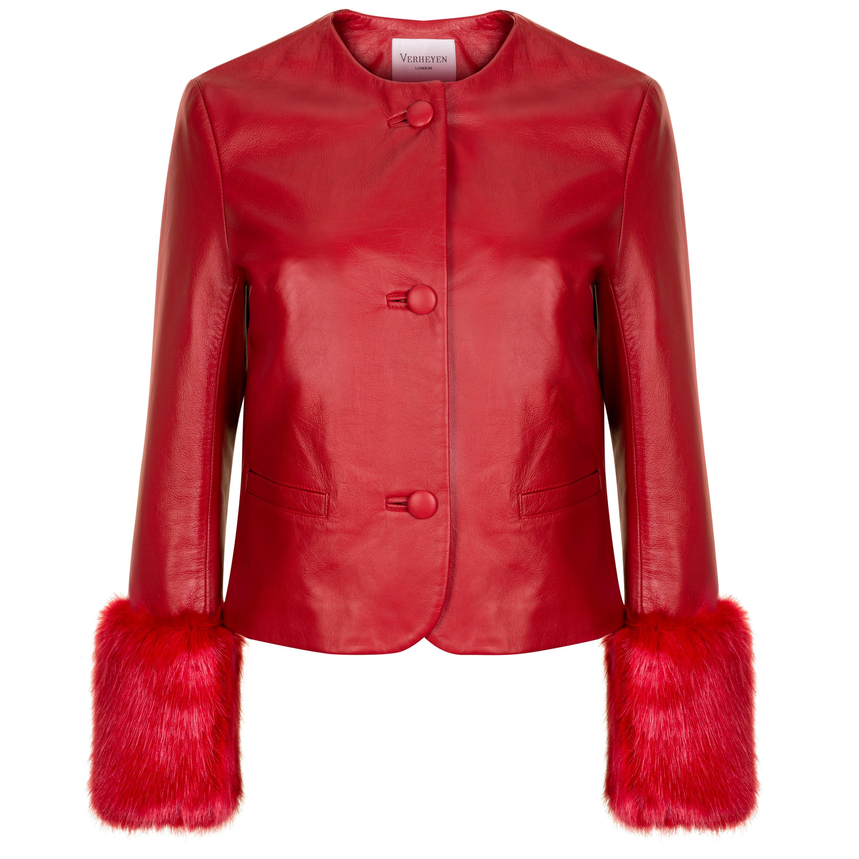 Verheyen Vita Cropped Jacket in Red Leather with Faux Fur - Size uk 6