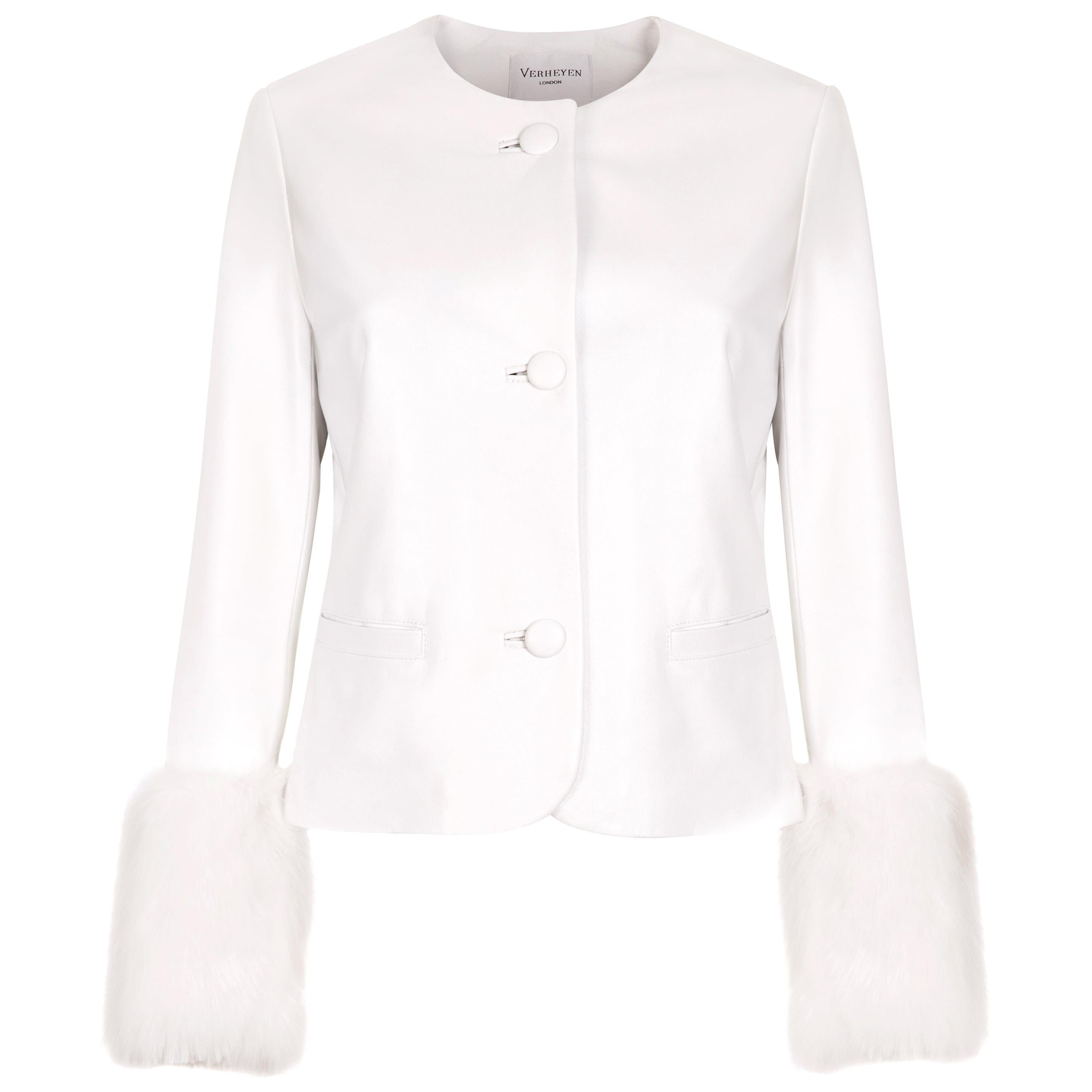 Verheyen Vita Cropped Jacket in White Leather with Faux Fur - Size uk 10