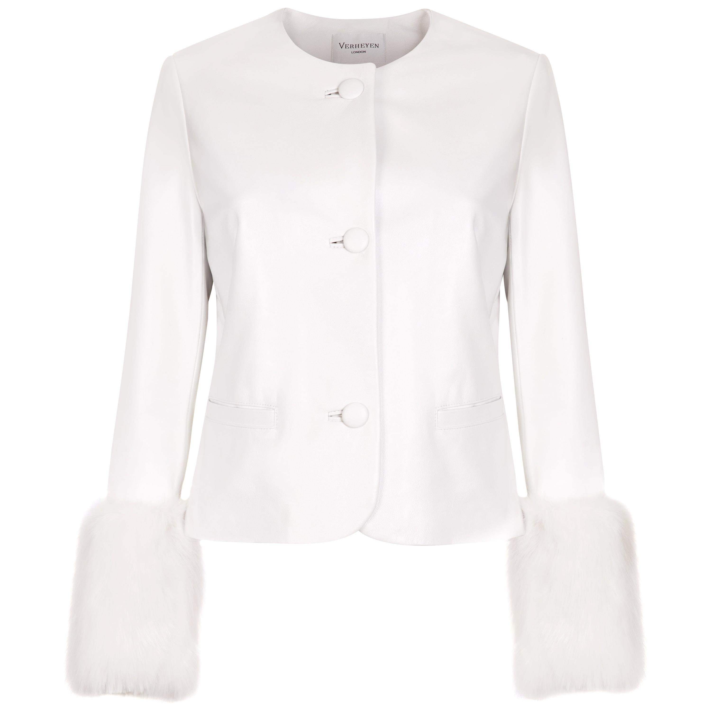 Verheyen Vita Cropped Jacket in White Leather with Faux Fur - Size uk 12