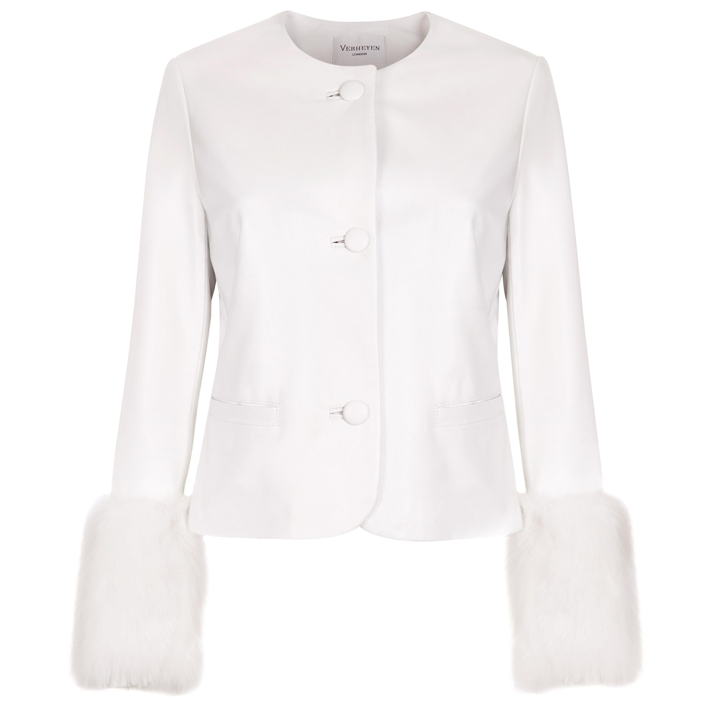 Verheyen Vita Cropped Jacket in White Leather with Faux Fur - Size uk 14