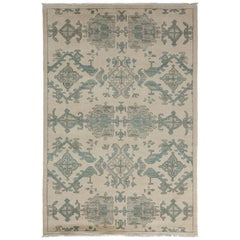 One-of-a-Kind Patterned & Floral Wool Hand-Knotted Area Rug, Bone, 5' 2 x 8