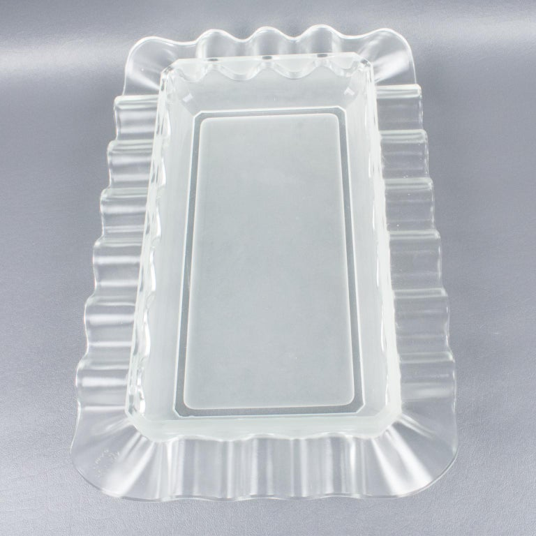 Verlys France Art Deco Frosted Glass Centerpiece Bowl For Sale 5